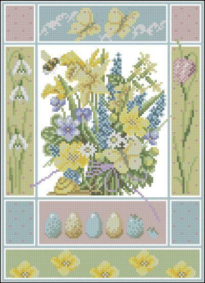 Описание: Схема для вышивки крестом - Lanarte 34279 (Marjolein Bastin) Spring в формате xsd.  Цветы и Растения.